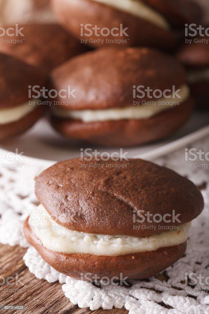 American Whoopie pie dessert macro. vertical stock photo