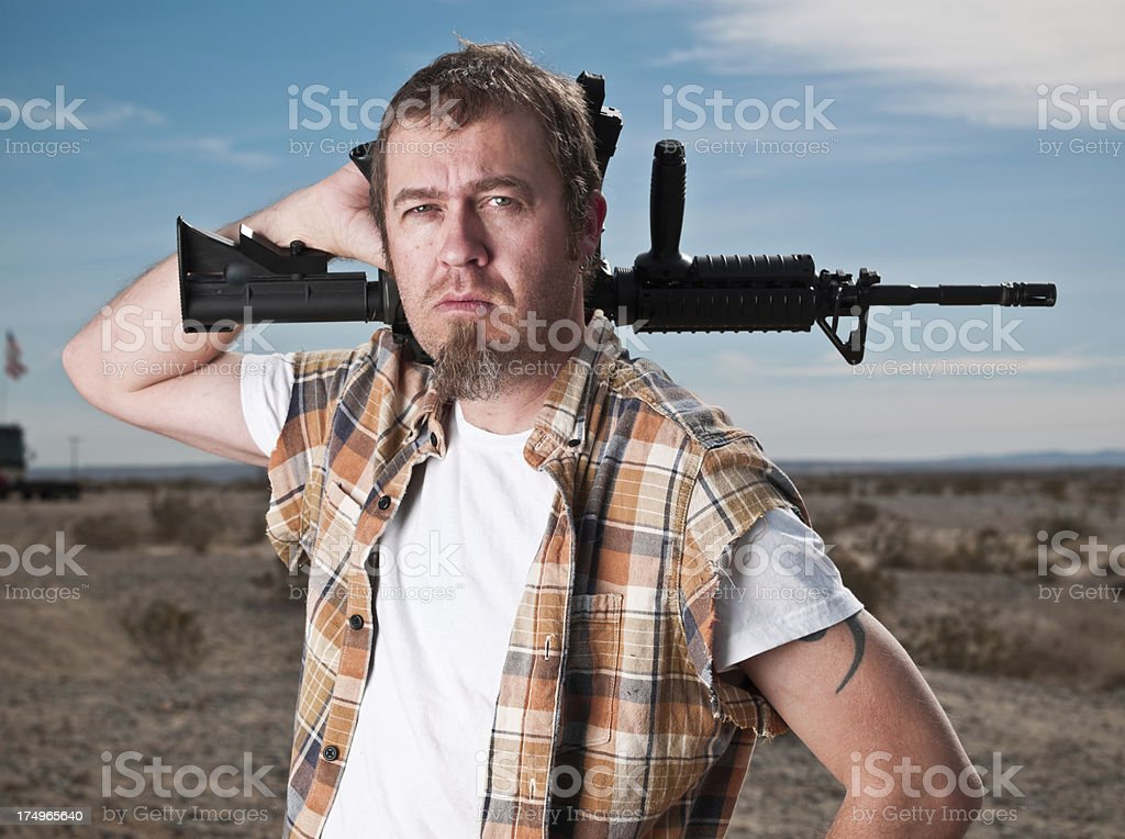 American with an Assault Weapon royalty-free stock photo
