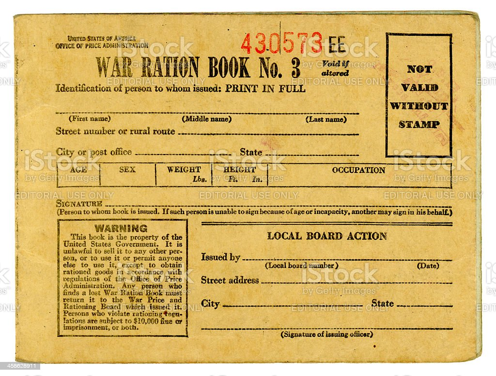 American World War Two Ration Book 3 stock photo