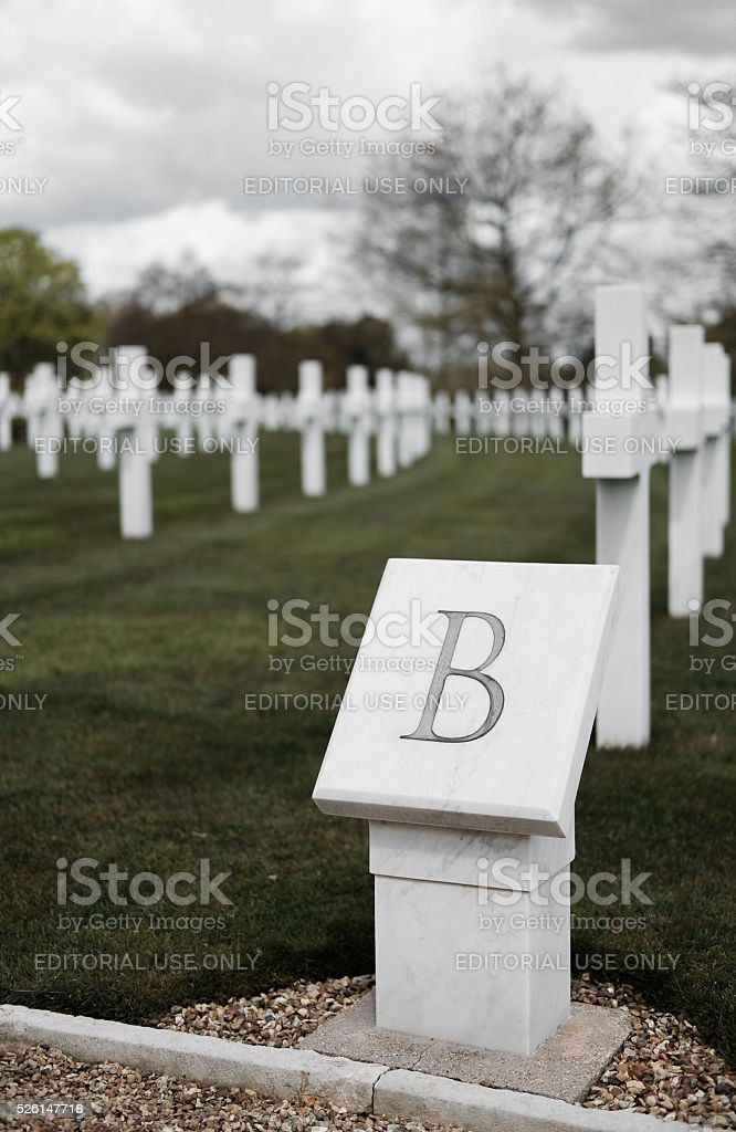 American WW2 Cemetery row B stonework plaque. stock photo