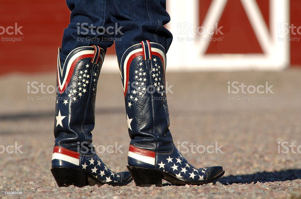 Americana Cowboy Boots stock photo