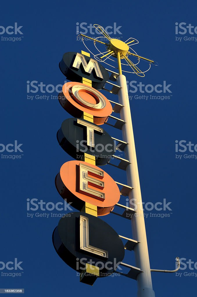 Americana Route 66 Classic Neon Motel Sign royalty-free stock photo
