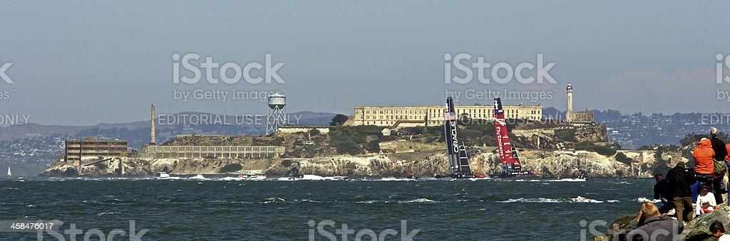 America's Cup NZ VS USA - Alcatraz stock photo