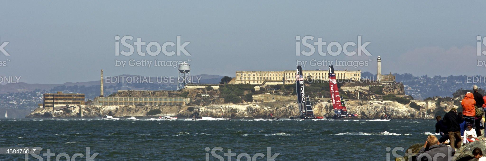 America's Cup NZ VS USA - Alcatraz royalty-free stock photo