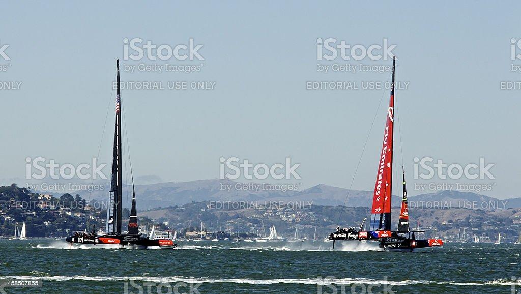 America's Cup NZ VS USA - Racing! stock photo