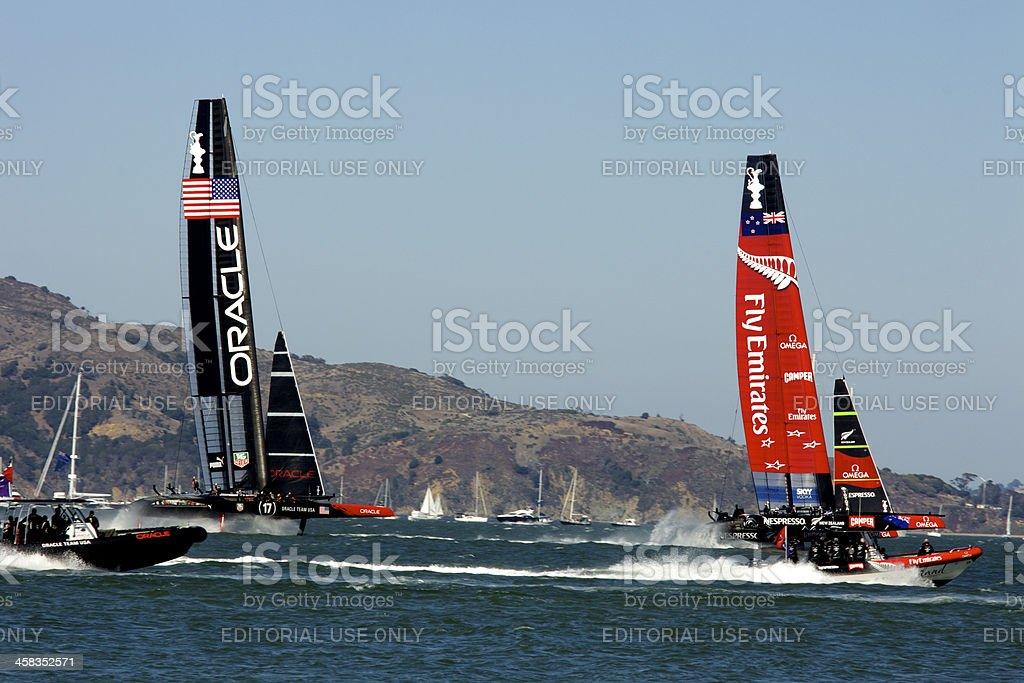 America's Cup NZ VS USA - Side View Speeding royalty-free stock photo