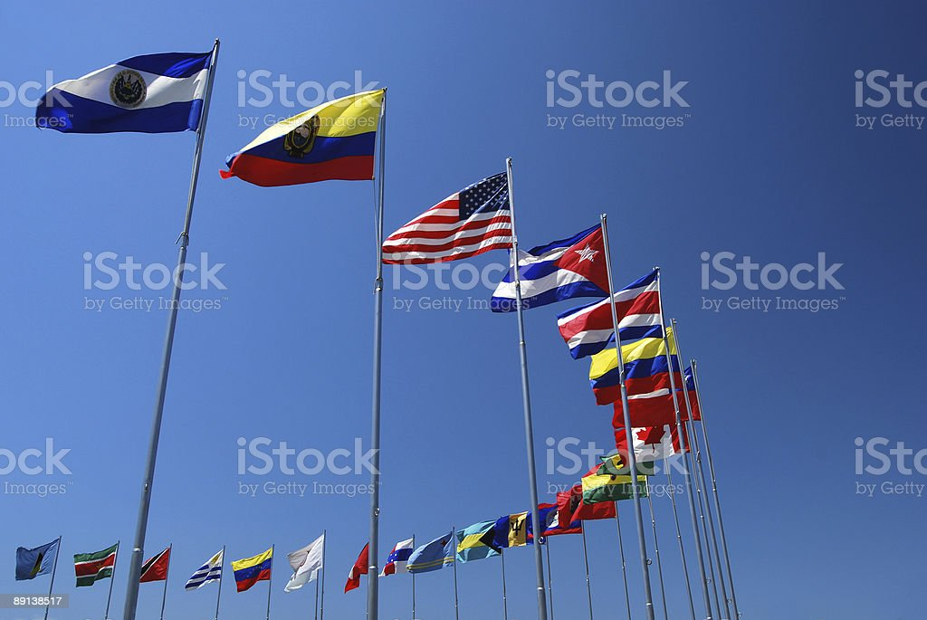 Americas Flags stock photo