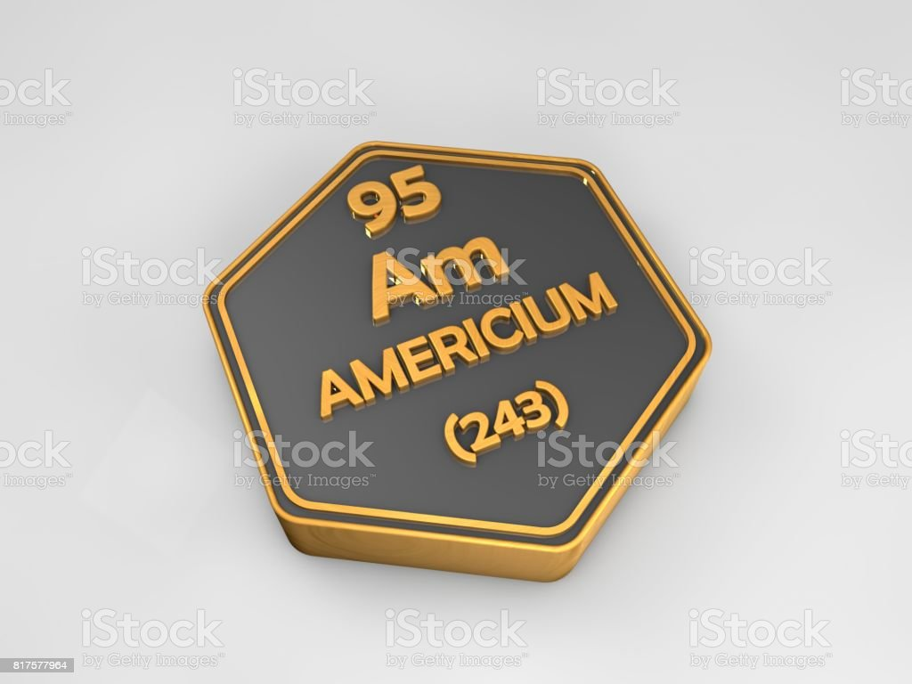 Americium - Am - chemical element periodic table hexagonal shape 3d render stock photo
