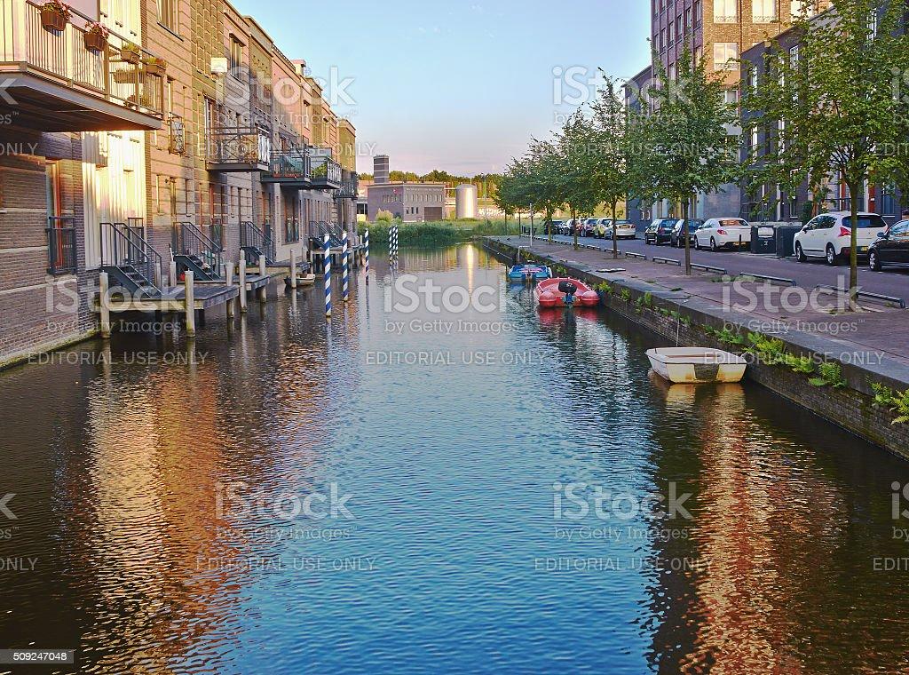 Amersfoort, Utrecht, Netherlands - August 29, 2015, Quiet sunset, editorial. stock photo