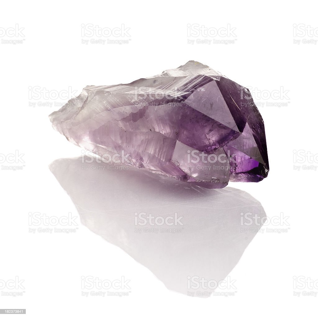 Amethyst Crystal on Reflective Surface royalty-free stock photo