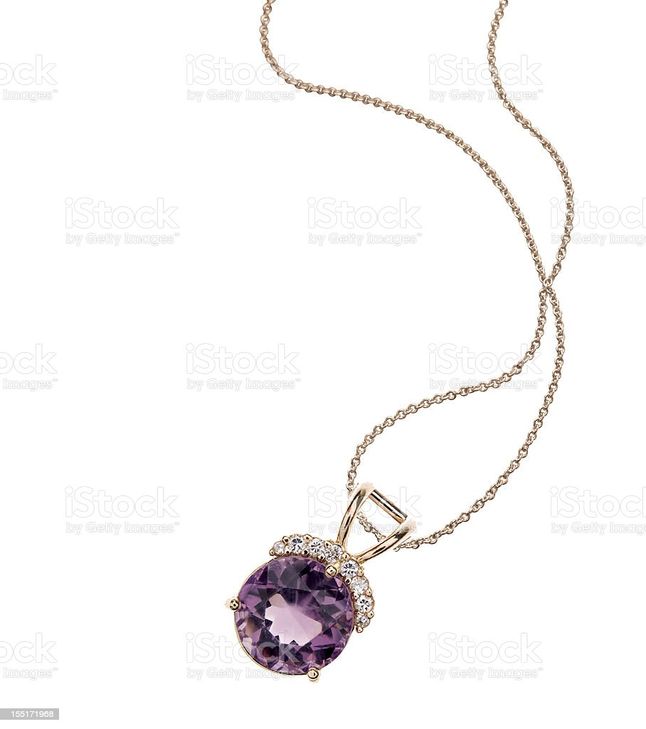 Amethyst & Diamond Necklace stock photo