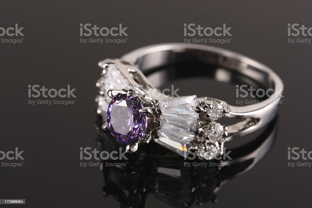 Amethyst Diamond Ring stock photo