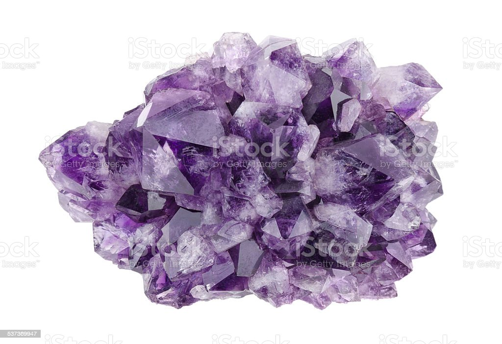 Amethyst Directly Above Over White Background stock photo