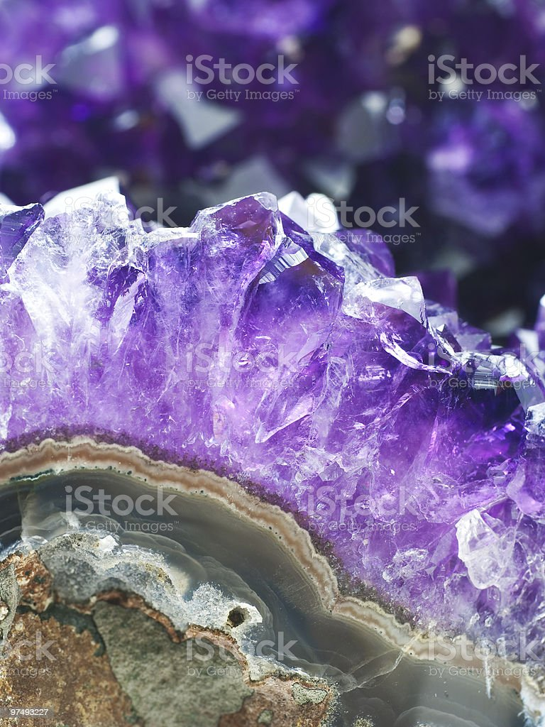 Amethyst druse over agate rock royalty-free stock photo