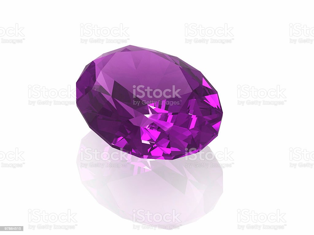 Amethyst gemstone isolated on a white background stock photo