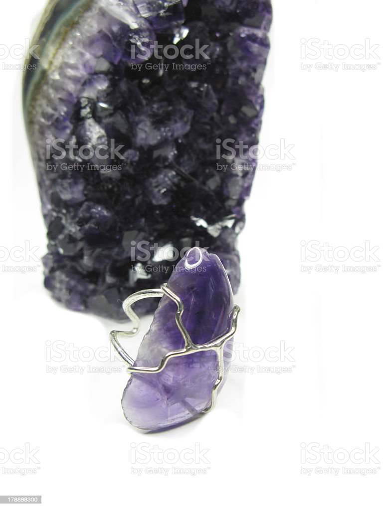 amethyst geode geological crystals and jewelery ring royalty-free stock photo