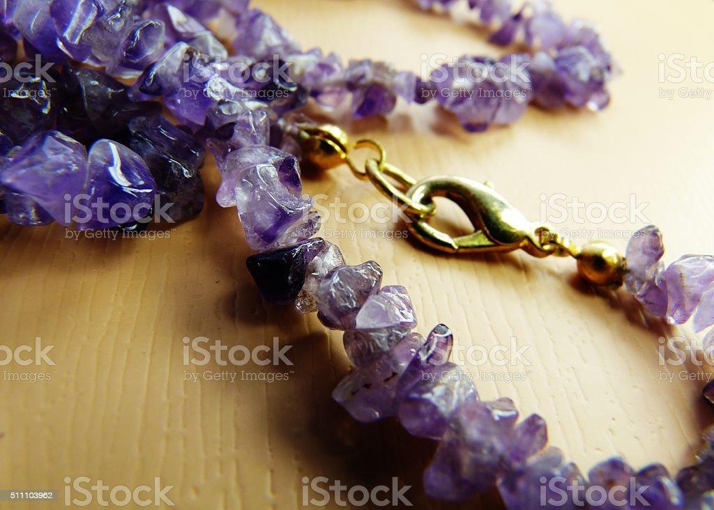 amethyst necklace gemstone february birthstone brass clasp stock photo