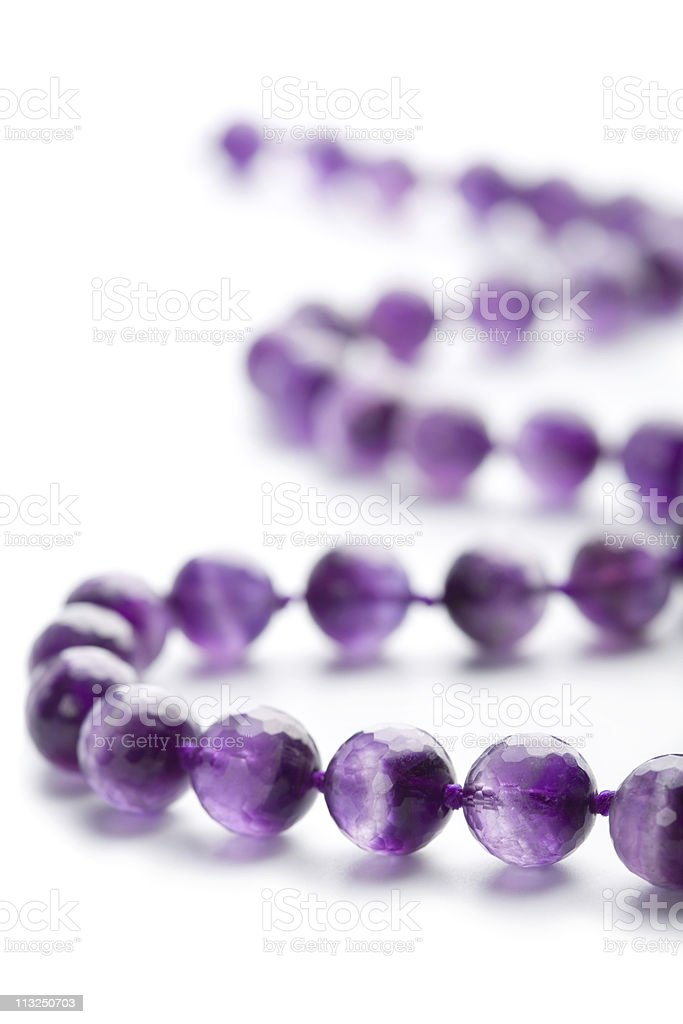 amethyst necklace isoalted royalty-free stock photo