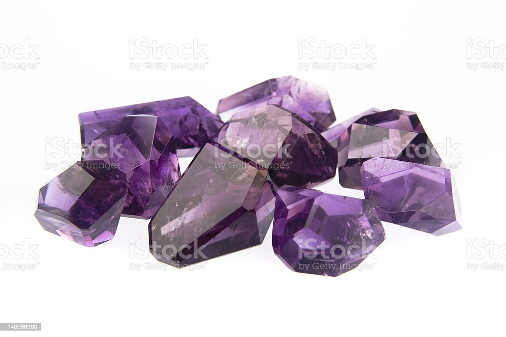 Amethyst polished freeforms stock photo