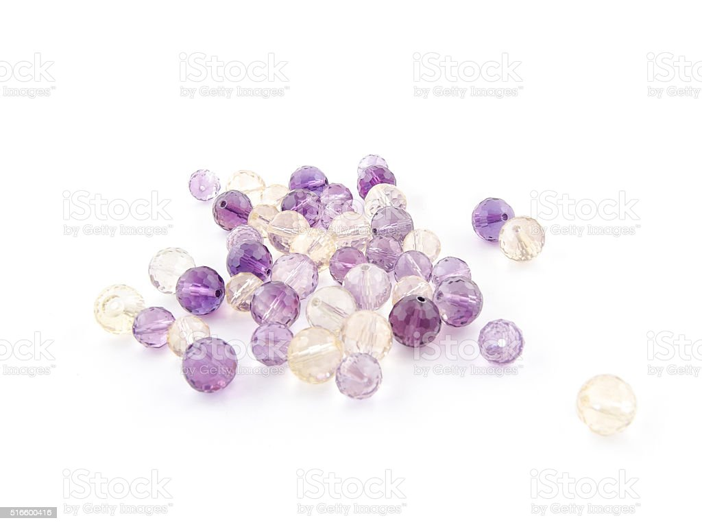 Ametrine amethyst beads in purple, violet and yellow colors stock photo