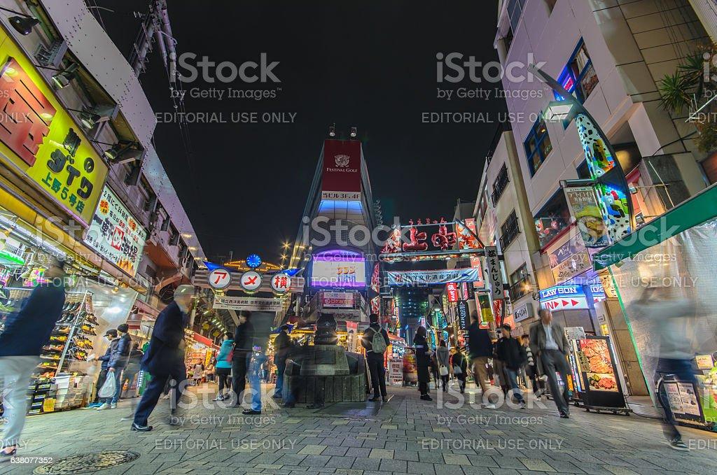 Ameyoko Market in evening. stock photo