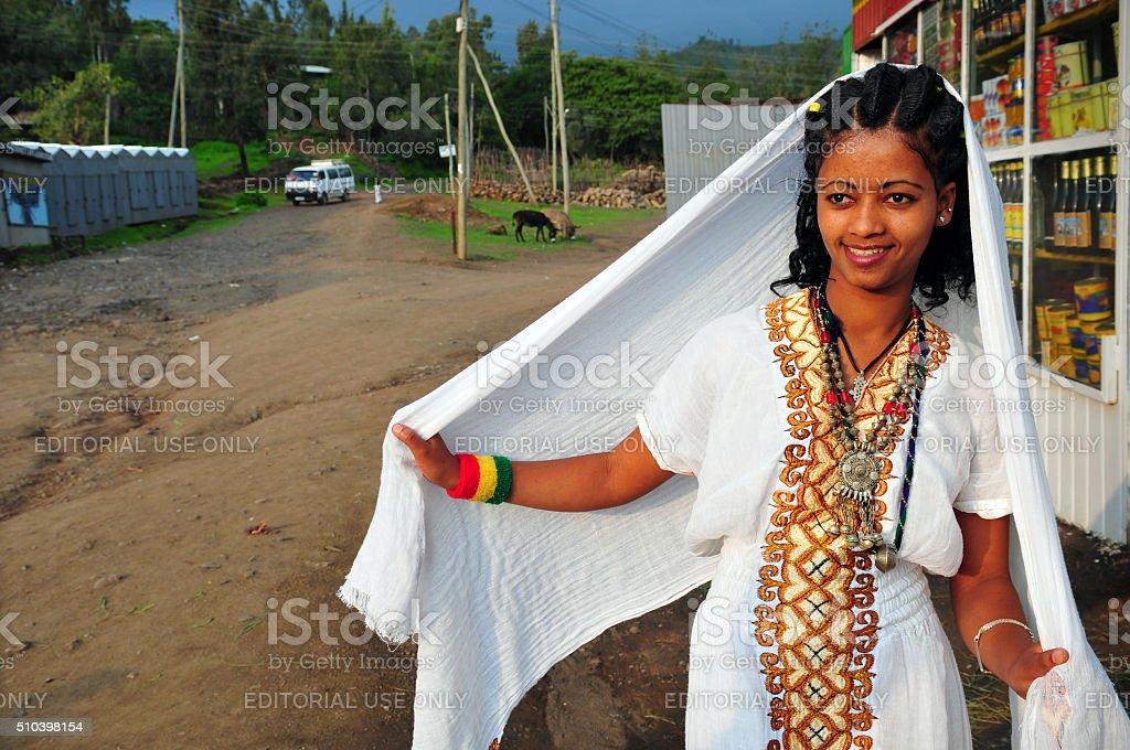 Amhara woman in Lalibela, Ethiopia stock photo