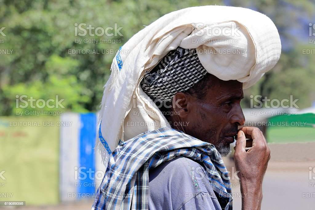 Amharic man with big headdress. Debre Birhan-Ethiopia. 0511 stock photo