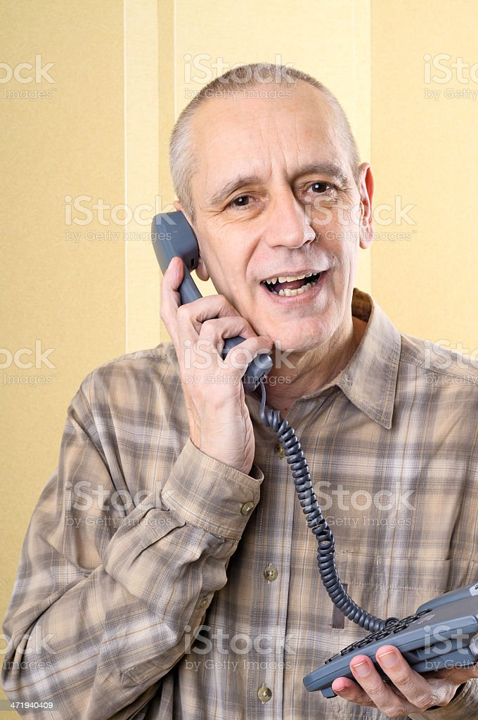 Amicable Man on Phone stock photo