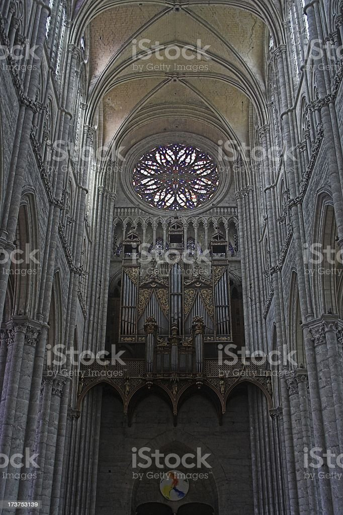 Amiens Cathedral Organ and stained glass royalty-free stock photo