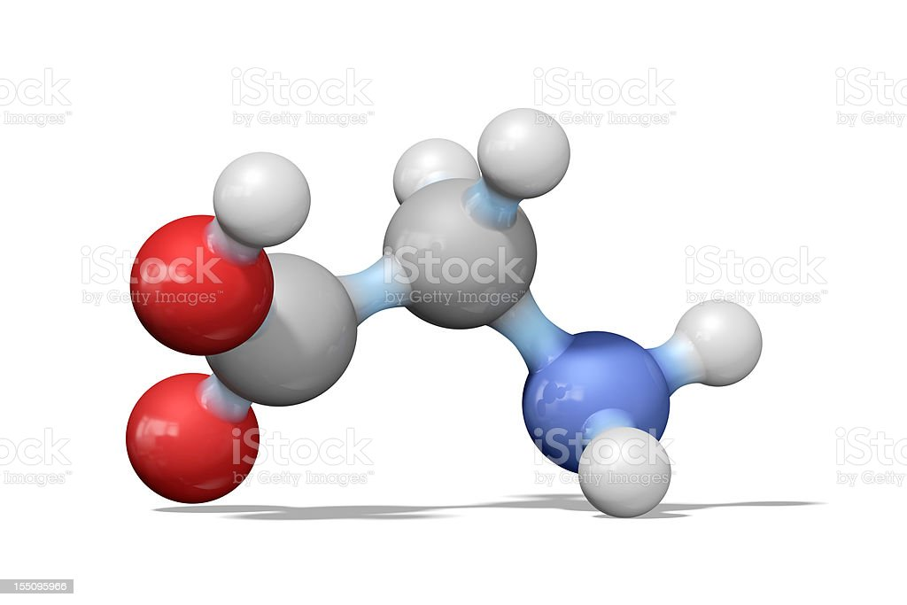 Amino acid glycine ball and stick model stock photo