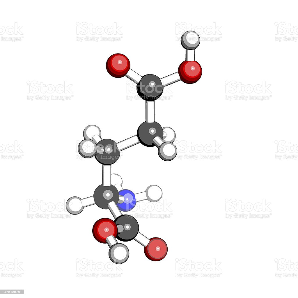Aminoacid glutamic acid molecular structure stock photo