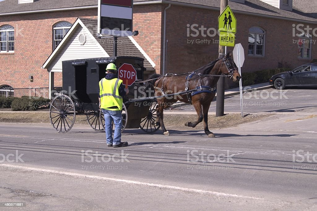 Amish buggy being directed in construction. stock photo