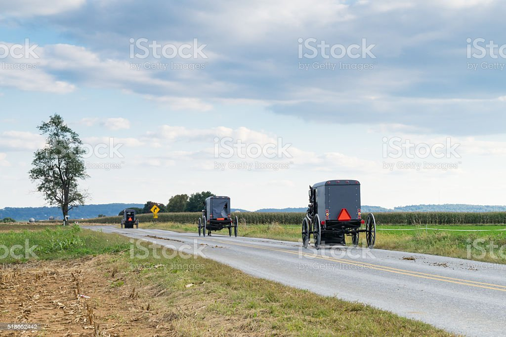 Amish Carriages in Lancaster County stock photo