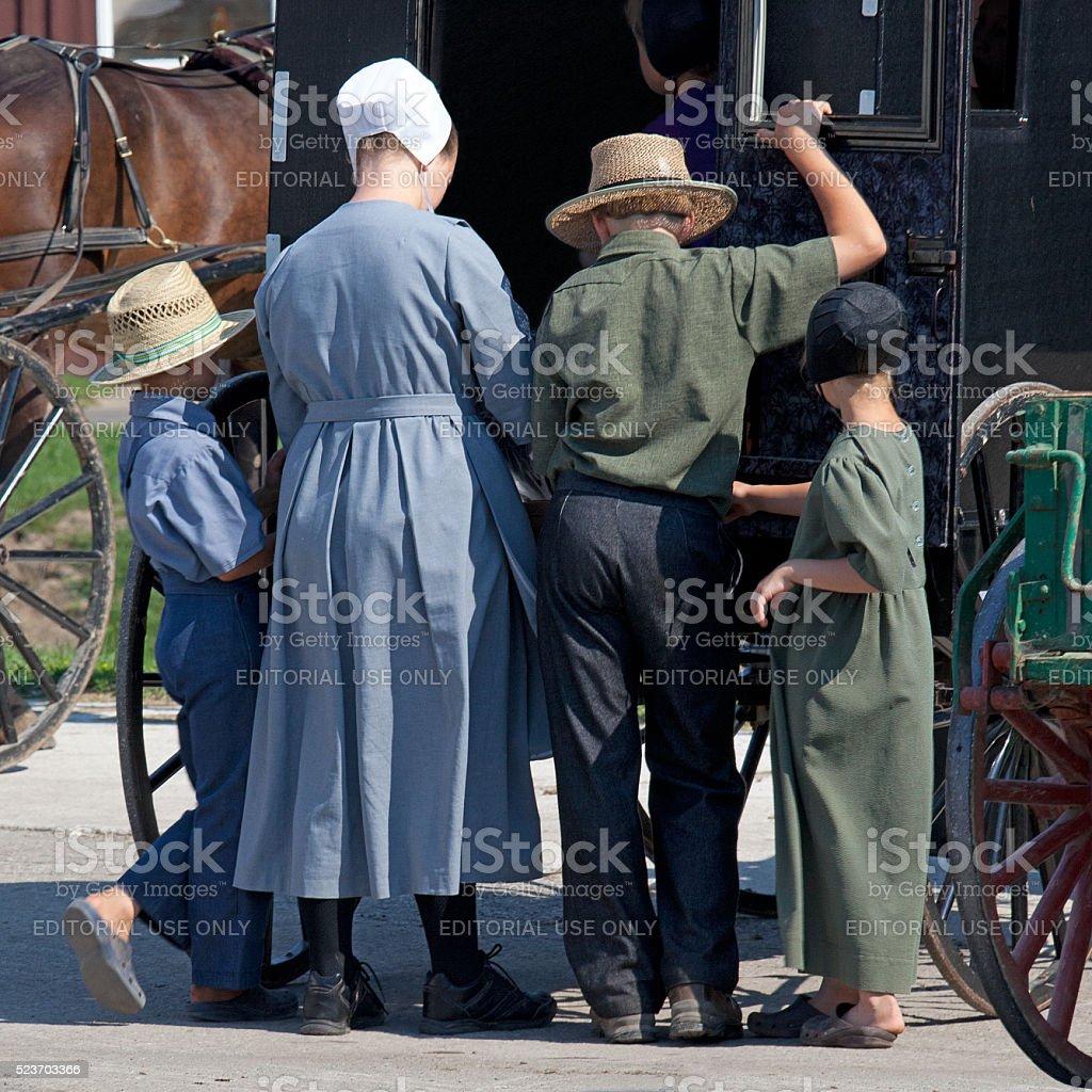 Amish Family stock photo