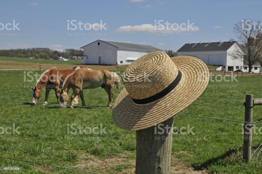 Amish hat on a farm fence post stock photo