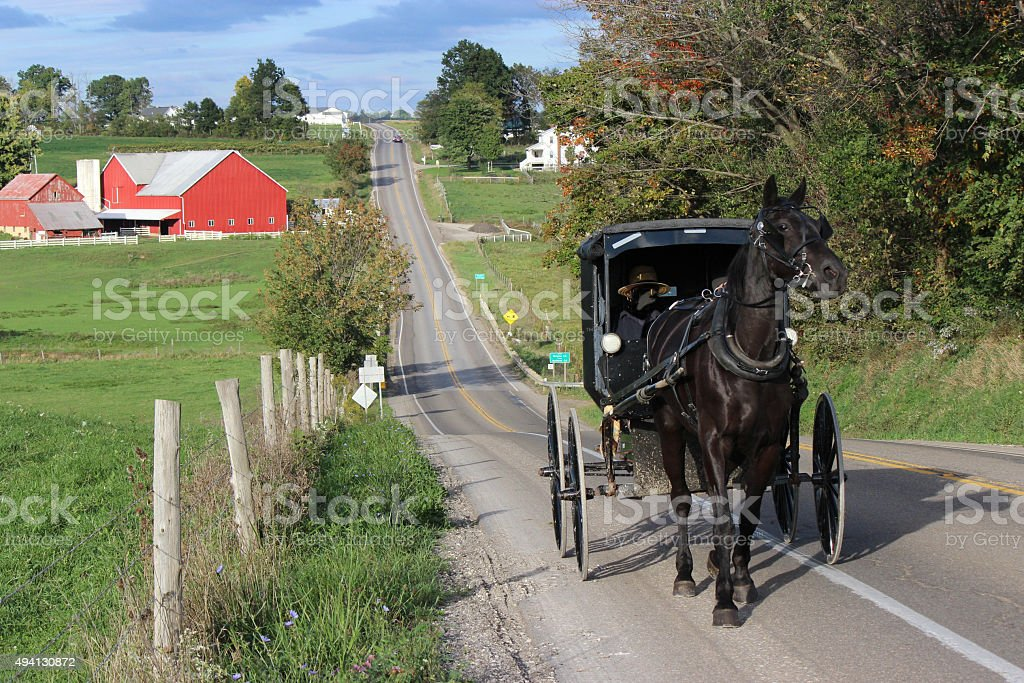 Amish Horse and Buggy Travelling Up a Steep Country Road stock photo