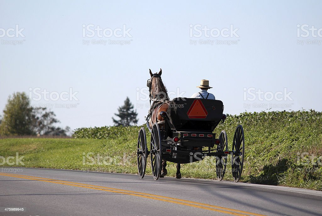 Amish Horse and Cart in Lancaster, Pennsylvania stock photo