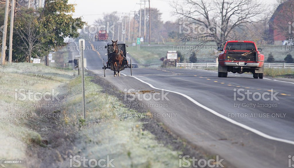 Amish Horse Buggy and Pickup Truck stock photo