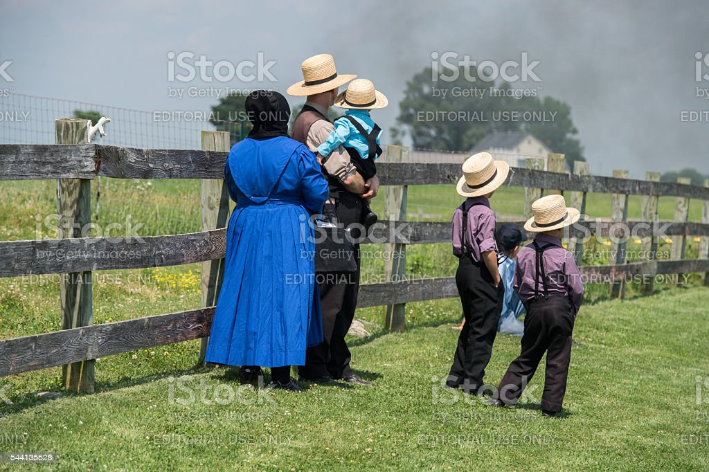 Amish people in Pennsylvania stock photo