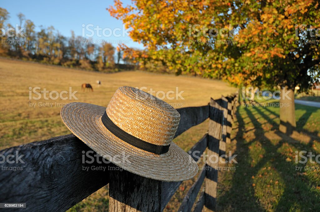 Amish Straw Hat in Pennsylvania Fall stock photo