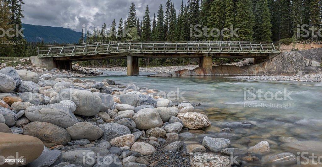 Amiskwi River Bridge in Yoho National Park Canada stock photo