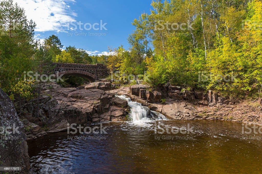 Amity Creek Falls & Bridge stock photo