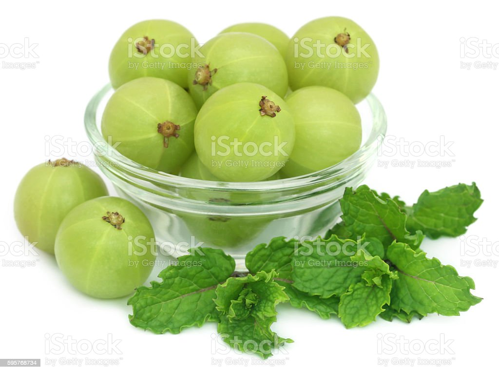 Amla fruits with mint leaves stock photo