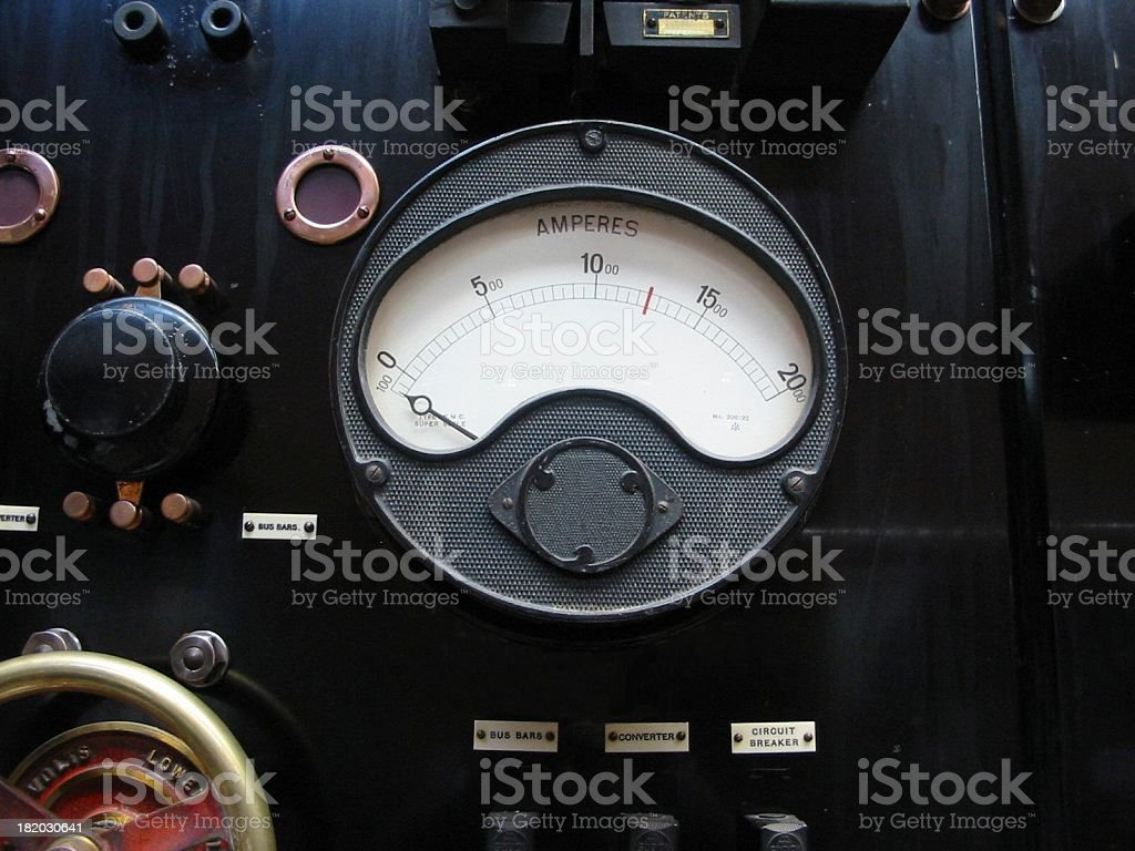 Ammeter on vintage electrics control board. stock photo