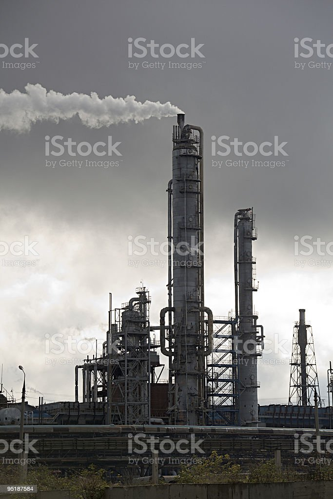 Ammonia still with tubes and smoke stock photo