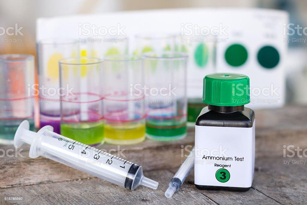 Ammonia test kit with syringe stock photo