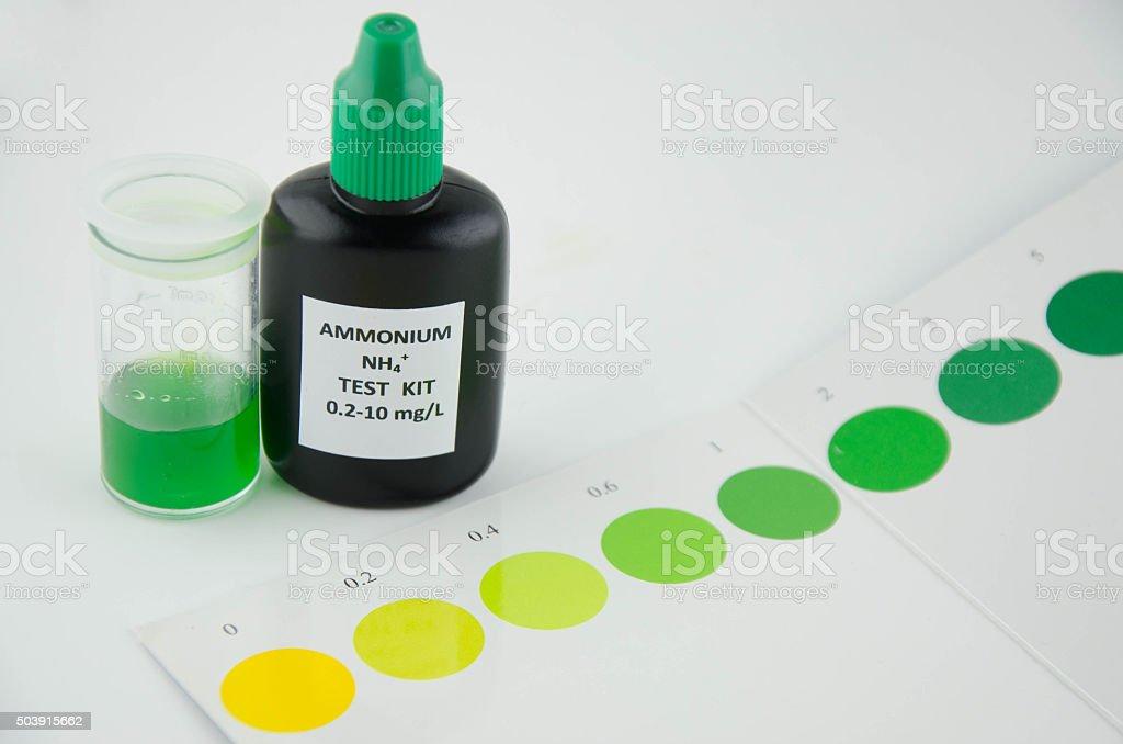 Ammonium test kit stock photo