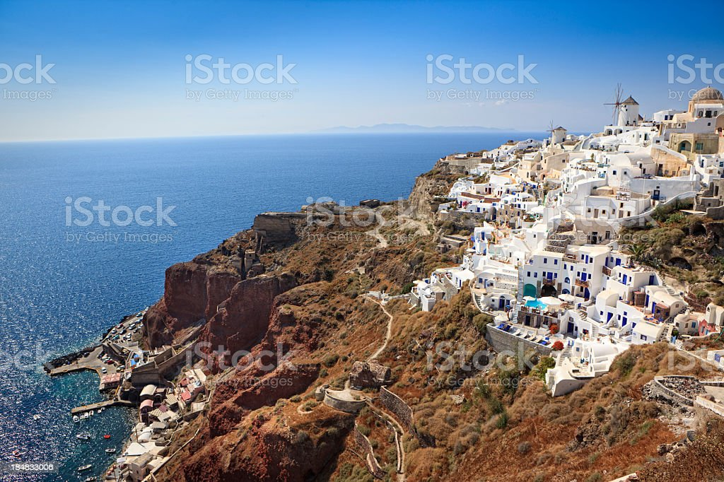 Ammoudi and Oia, Santorini Island, Greece stock photo