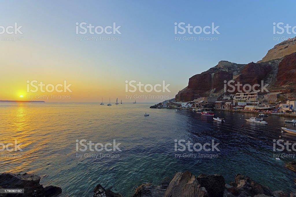 Ammoudi at sunset stock photo