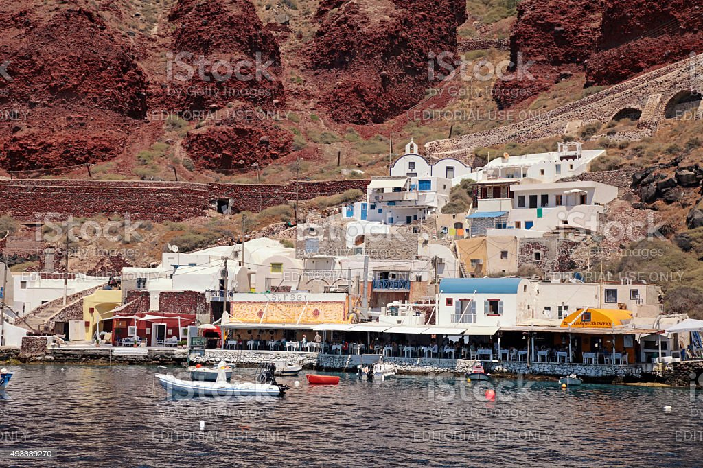 Ammoudi bay, port of Oia, Santorini, Greece stock photo
